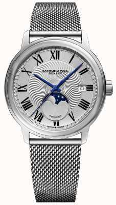Raymond Weil Mens maestro moonphase reloj correa de malla de acero inoxidable 2239M-ST-00659