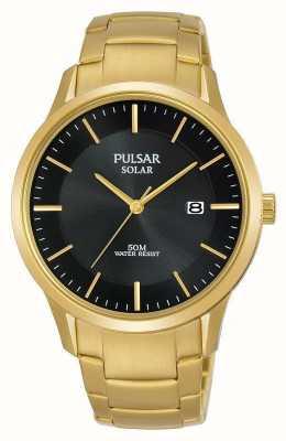 Pulsar Dial de fecha solar plateado oro para hombre PX3162X1