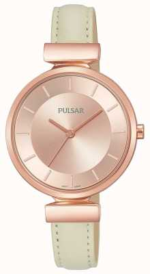 Pulsar Correa de cuero color crema rosa plateado mujer PH8418X1