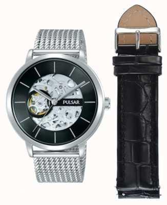 Pulsar Caja de acero inoxidable para hombre con reloj automático con esfera negra. P8A001X2