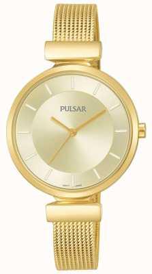 Pulsar Reloj de malla de acero inoxidable para mujer en tono dorado PH8412X1