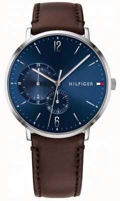 Tommy Hilfiger Esfera azul de los hombres correa de cuero marrón 1791508