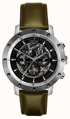 Weird Ape Icarus 3 dial correa de cuero negro plata / verde oliva WA02-005721