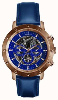 Weird Ape Icarus 3 dial azul oro rosa / añil correa de cuero azul WA02-005730