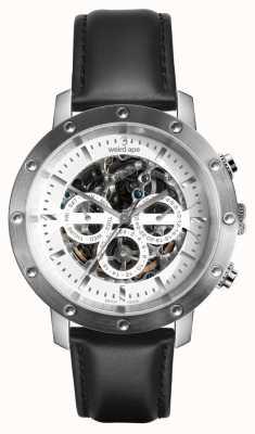 Weird Ape Icarus 3 dial blanco correa de cuero negro / plata WA02-005740