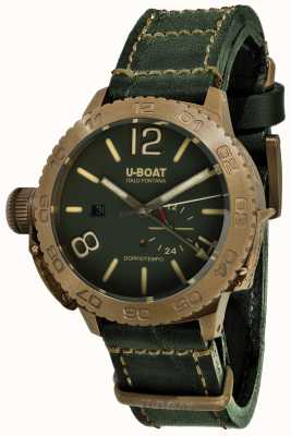 U-Boat Correa de cuero verde automática Doppiotempo 46 bronzo gr 9088