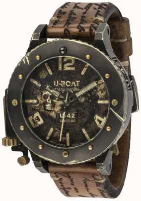 U-Boat Correa de cuero marrón automática U-42 unicum vintage look 8188