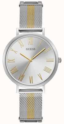 Guess Reloj de pulsera con dos tonos en plata y oro para mujer W1155L1