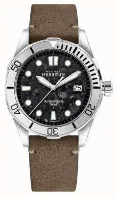 Michel Herbelin Reloj trofeo newport para hombre con esfera negra correa de piel marrón 1660/22TER