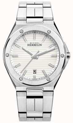 Michel Herbelin Reloj de pulsera de acero inoxidable para hombre blanco 12245/B12