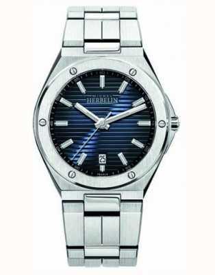 Michel Herbelin Reloj de hombre de acero inoxidable con esfera azul. 12245/B15