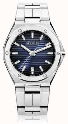 Michel Herbelin Reloj de acero inoxidable para hombre con esfera azul 12245/B15