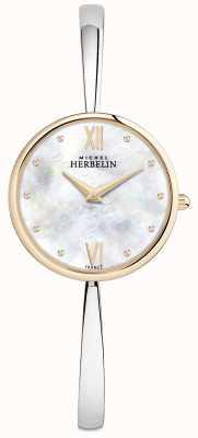 Michel Herbelin Brazalete de plata con reloj de oro rosa para mujer 17418/BTR19