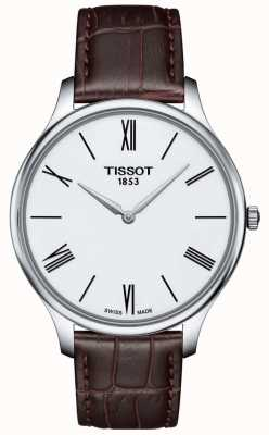 Tissot Reloj de pulsera de cuero marrón fino tradicional de hombre T0634091601800