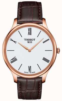 Tissot Reloj de hombre con correa de cuero marrón fina reloj plateado rosa T0634093601800