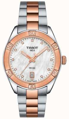 Tissot Reloj de pulsera elegante de dos tonos para mujer pr100 sport T1019102211600