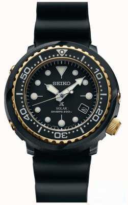 Seiko Los hombres de atún negro y oro prospex solar buzos reloj SNE498P1