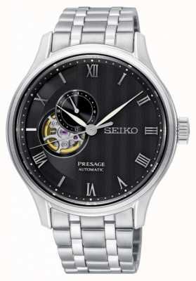 Seiko Pulsera automática de acero inoxidable con esfera negra Presage mens SSA377J1
