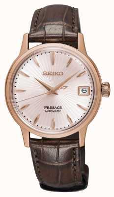 Seiko Reloj automático para mujer Presage correa de cuero marrón dorado rosa SRP852J1