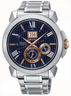 Seiko Premier cinético reloj para hombre esfera azul acero inoxidable SNP153P1