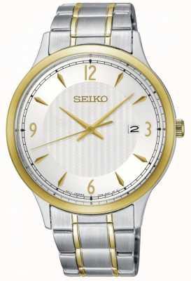 Seiko Modelo clásico para hombre, esfera blanca, reloj de dos tonos SGEH82P1