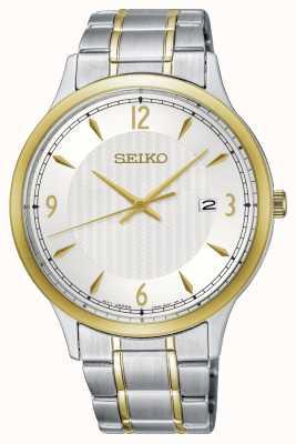 Seiko Reloj clásico para hombre con esfera blanca de dos tonos. SGEH82P1