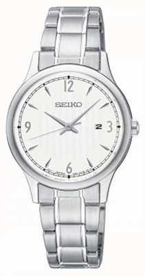 Seiko Reloj clásico de acero inoxidable con esfera blanca para mujer SXDG93P1