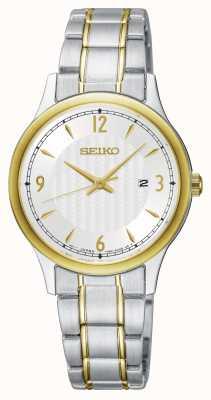 Seiko Reloj clásico de dos tonos con esfera blanca para mujer. SXDG94P1