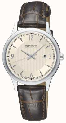Seiko Modelo de mujer crema clásico marcar correa de cuero marrón reloj SXDG95P1