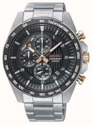 Seiko Reloj de pulsera de acero con cronógrafo negro para hombre SSB323P1