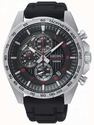 Seiko Reloj deportivo con correa de caucho cronógrafo negro para hombre SSB325P1