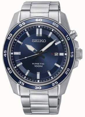 Seiko Reloj cinético para hombre de acero inoxidable con esfera azul. SKA783P1