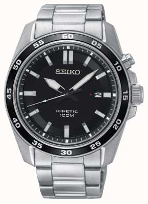 Seiko Reloj cinético de acero inoxidable para hombre con esfera negra SKA785P1