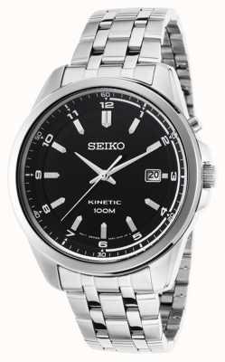 Seiko Brazalete de acero inoxidable cinético para hombre con esfera negra SKA633P1