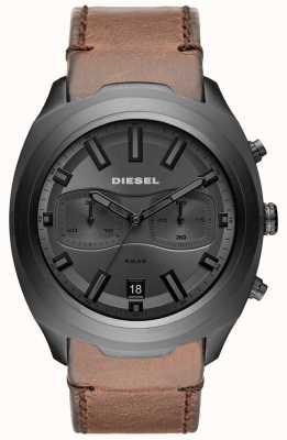 Diesel Mens tumbler gris cronógrafo reloj de correa de cuero marrón DZ4491