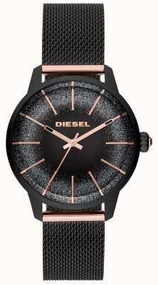 Diesel Pulsera para mujer de malla de reloj de oro negro y rosa de Castilla DZ5577