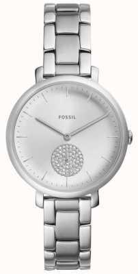 Fossil Reloj de cristal plateado jacqueline para mujer de acero inoxidable ES4437