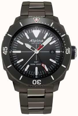 Alpina Reloj para hombre seastrong diver gmt con revestimiento de titanio negro AL-247LGG4TV6B