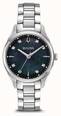 Bulova Reloj sutton clásico para mujer con esfera nacarada negra 96P198