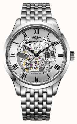 Rotary Reloj esquelético para hombre de pulsera de acero inoxidable greenwich GB02940/06
