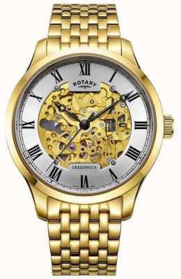 Rotary Reloj esquelético chapado en oro automático para hombre Greenwich GB02941/03