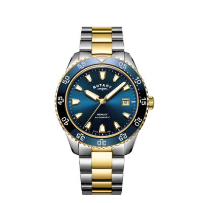 Rotary Mens henley automática dos tonos pulsera azul esfera reloj GB05131/05
