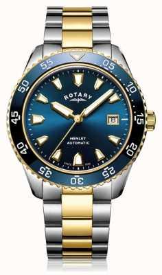 Rotary Reloj henley automático de dos tonos con pulsera y esfera azul para hombre GB05131/05