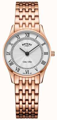Rotary Reloj de pulsera ultra delgado de oro rosa para mujer. LB08304/01