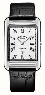 Rotary Reloj de hombre con correa de cuero negro cuadrado de fecha de Cambridge. GS05280/01