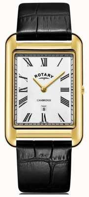 Rotary Correa de cuero negro para hombre de reloj de color negro de fecha cambridge. GS05283/01