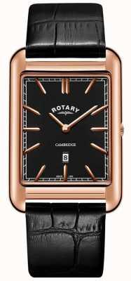 Rotary Correa de cuero negro para hombre reloj cuadrado negro de oro rosa de Cambridge GS05284/04