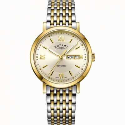 Rotary Reloj windsor para hombre | correa de acero inoxidable bicolor | GB05301/09