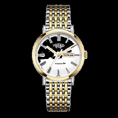 Rotary Reloj windsor bicolor en plata y oro para hombre. GB05302/01