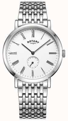 Rotary Reloj de pulsera de acero inoxidable offset para hombre windsor. GB05310/01